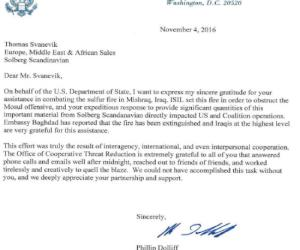 Solberg recognized by State Department for emergency supply of